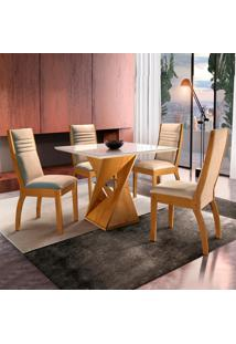 Conjunto De Mesa De Jantar Canyon Com 4 Cadeiras Excelence Ll Suede Off White E Bege