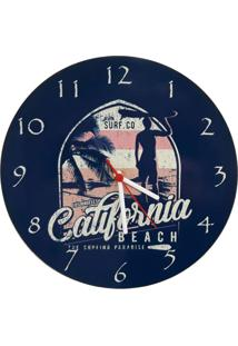 Relogio De Parede Madeira Surf California 30X30Cm - Carisma