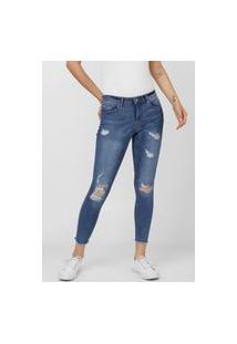 Calça Jeans Only Skinny Cropped Carmen Destroyed Azul