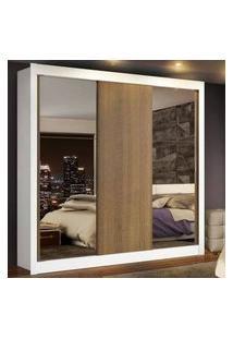 Guarda-Roupa Casal Madesa Lyon Plus 3 Portas De Correr Com Espelhos 4 Gavetas Branco