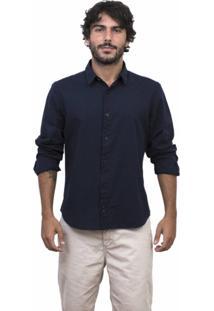 Camisa Limits Capri Manga Longa Bottone Marinho