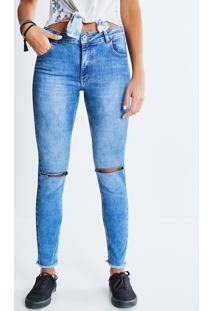 Calça Skinny Jeans Com Rasgos
