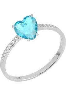 Anel Coração Tiffany Com Zircônias Ródio Lys Lazuli Feminino - Feminino-Prata