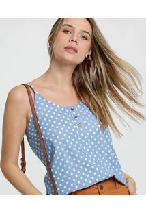 Blusa Feminina Jeans Estampa Bolinhas Alças Finas Gups