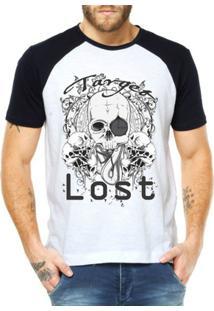 Camiseta Criativa Urbana Raglan Esqueleto Caveira Sniper - Masculino-Branco