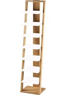 Estante Escada 7 Prateleiras Em Madeira Maciça/Mdf - Palha/Branco