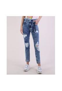 Calça Jeans Feminina Skinny Clochard Cintura Super Alta Destroyed Com Faixa Para Amarração Azul Médio