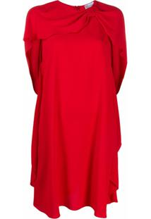 Redvalentino Vestido Com Detalhe De Pelerine - Vermelho