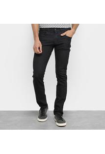 Calça Jeans Slim Aleatory Listrada Elastano Masculina - Masculino-Preto