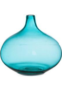 Vaso Em Vidro Fortune 21Cm Azul Turquesa