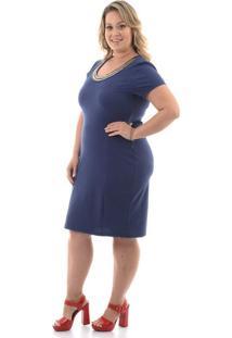 Vestido Pedraria Marinho Plus Size