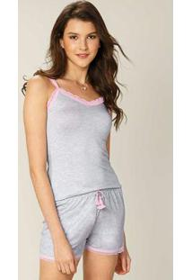 Pijama Cinza Claro Com Renda Feminino