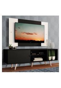 Rack Madesa Dubai Com Pés E Painel Para Tv Até 58 Polegadas - Preto/Branco 8Nc7 Preto