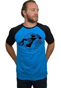 Camiseta Raglan Hshop Surfin Azul Turquesa E Preto