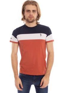 Camiseta Listrada Bull Aleatory Masculina - Masculino-Marinho