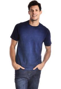 Camiseta Malha Denim Com Lavagem Azul Índigo