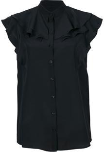 Givenchy Blusa De Seda Com Babados - Preto