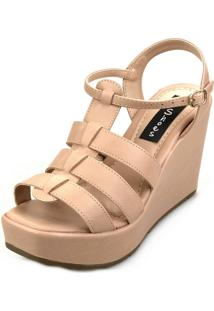 Sandália Anabela Love Shoes Alta Basica Tiras Bege