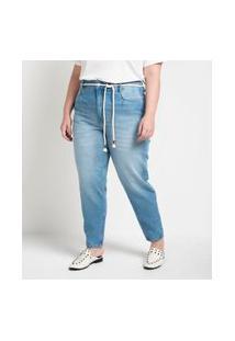 Calça Jeans Mom Com Cinto Corda Curve & Plus Size Azul