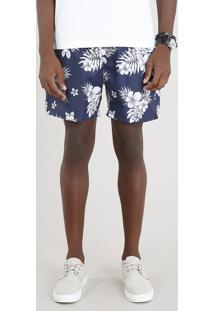 Short Masculino Estampado Floral Azul Marinho