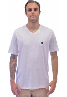 Camiseta Blanks Co Bks Gola V 1161 Flame 100% Algodão Branco