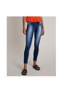 Calça Jeans Feminina Sawary Skinny Pull Up Azul Escuro