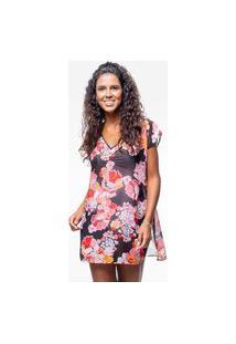 Blusa 101 Resort Wear Saida De Praia Estampada Crepe Decote V Flor Oriental