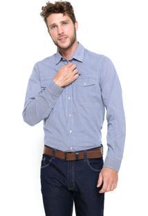 Camisa Triton Slim Azul/Branca