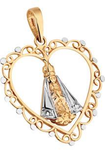 Pingente Joia Em Casa Nossa Senhora De Aparecida Com Coração Dourado