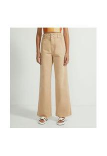 Calça Wide Leg Sarja Color Com Elástico No Cós E Dois Botões | Blue Steel | Bege | 46