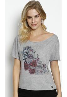 65bb53b36 Ir para a loja; Blusa Botonê Floral- Cinza & Rosa Escurobeagle
