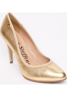 Sapato Tradicional Em Couro Com Tag- Dourado- Salto:Carmen Steffens