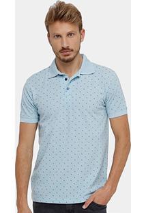 Camisa Polo Blue Bay Piquet Mini Print Âncora Masculina - Masculino