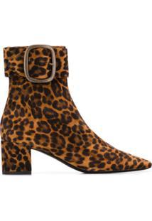 Saint Laurent Ankle Boot Animal Print - Marrom