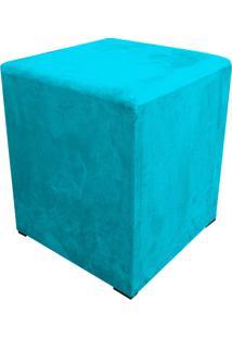 Puff Decorativo Dado Quadrado Suede Azul Turquesa - D'Rossi.