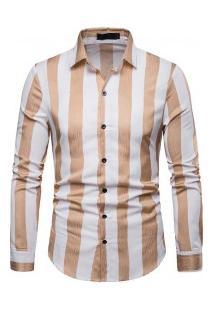 Camisa Masculina Com Listra Vertical Manga Longa - Cáqui