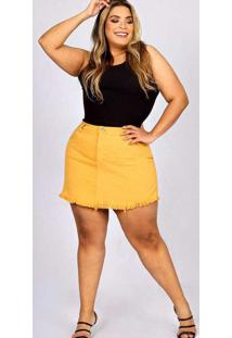 Shorts Saia Desfiado Almaria Plus Size Fact Sarja