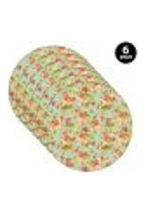 Sousplat Mdecore Floral 35X35Cm Verde 6Pçs