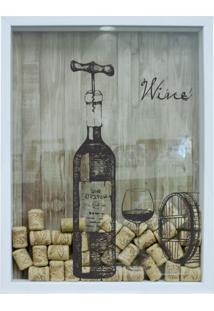 Quadro Porta Rolhas 32X42X4Cm Wine Branco