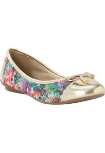 Sapatilha Floral Com Recortes- Verde & Douradacarmen Steffens