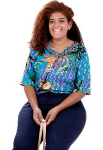 Blusa Kika Designer Plus Size Vickttoria Vick Plus Size Azul