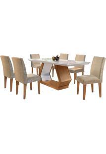 Sala De Jantar Alvorada 1.80M Com 6 Cadeiras Imbuia/Off White Sued Amassado Chocolate