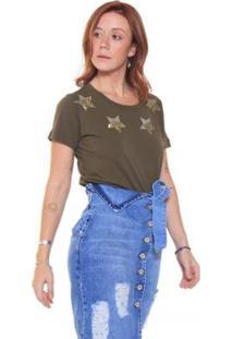 Camiseta Studio 21 Fashion Tee Stars - Feminino-Verde Militar