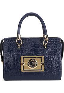 Bolsa Couro Jorge Bischoff Handbag Croco Feminina - Feminino-Marinho