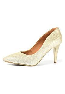 Scarpin Factor Salto Médio - Glitter Ligth Ouro