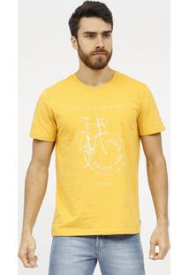 "Camiseta ""Life Is A Journey""- Amarelo Escuro & Branca"