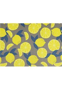 Tapete Para Cozinha Tropical Limões 43X65Cm Cinza