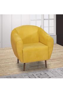 Poltrona Decorativa Jenifer Matrix Veludo Amarelo
