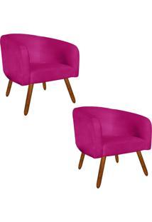 Kit 02 Poltronas Decorativa Stella Suede Pink Pés Palito - D'Rossi