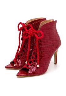 Sandália Ankle Boot Fechada Anna Andrade Bico Folha Verniz Croco Vermelha